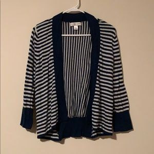 Navy blue and white striped cardigan